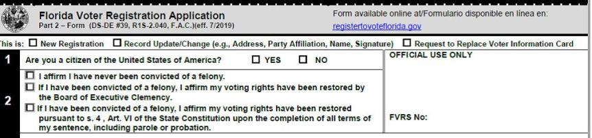 3 lines for block 2 on voter registration form