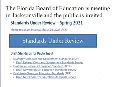 The state Board of Education is meeting in Jacksonville on June 10th and the public isinvited
